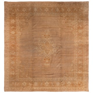 Amritsar Golden-Brown Indian Wool Rug For Sale