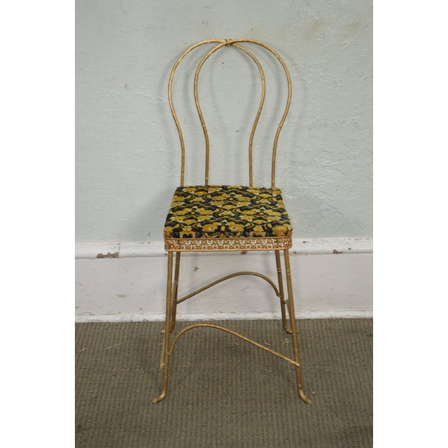 Antique Gilt Metal Faux Bois Aesthetic Side Chair For Sale In Philadelphia - Image 6 of 11