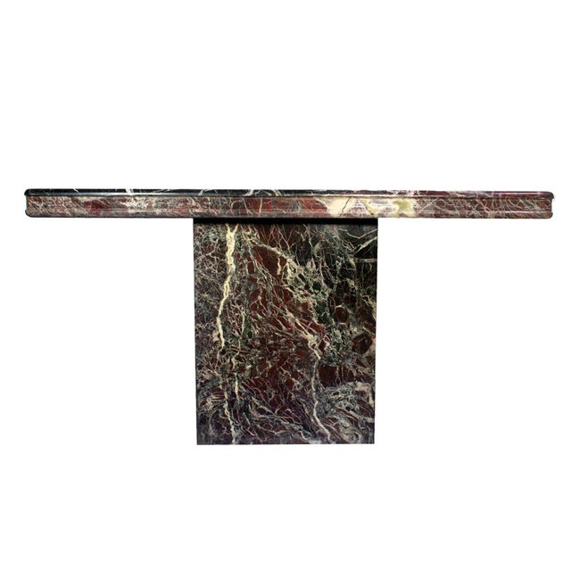 Vintage Italian Modernist Black & Red Marble Entry Hall Console For Sale In Los Angeles - Image 6 of 7
