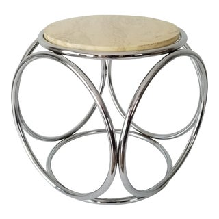 1970s Michael Thonet Style Chrome and Marble Top Side Table. For Sale
