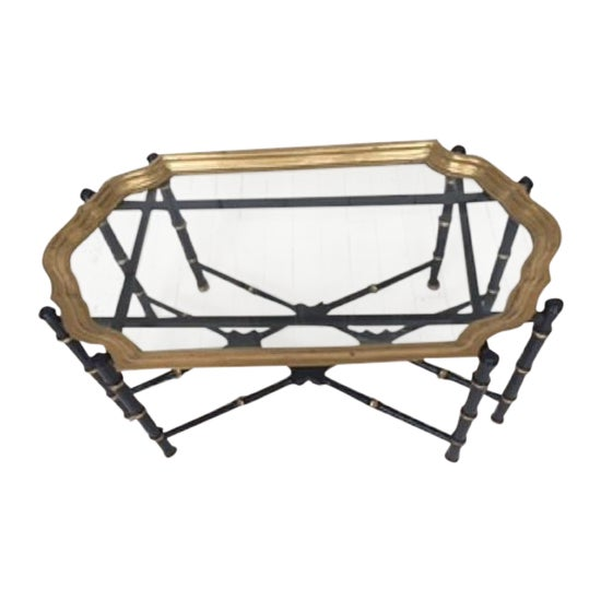 Hollywood Regency Brass & Faux Bamboo Coffee Table For Sale