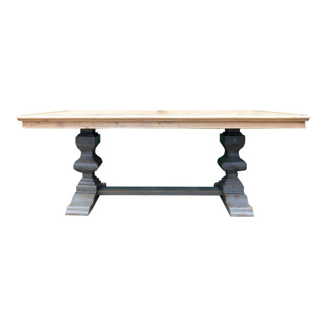 Palazzo Rustic Trestle Pine Dining Table For Sale