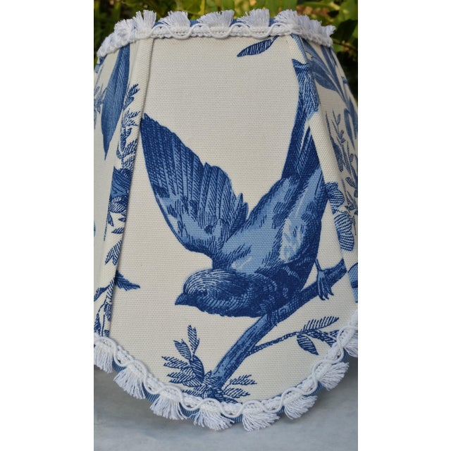 Blue White Toile Floral Clip On Lamp Shade For Sale - Image 4 of 11