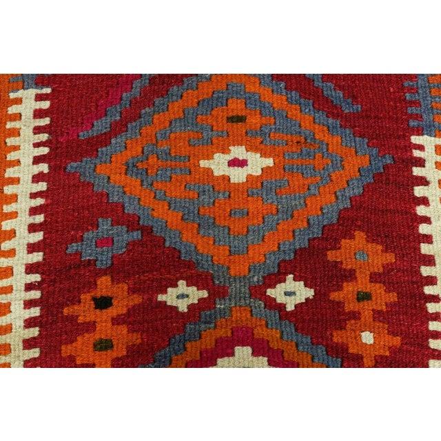 Red Vintage Turkish Kilim Runner Rug For Sale - Image 8 of 12