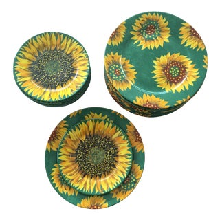 Limoges Laure Japy Tournesol Sunflower Plates - Set of 20 For Sale