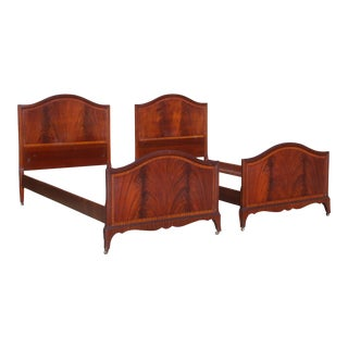 Antique Pair Art Deco Flame Mahogany Twin Beds Vintage Bedroom Set For Sale