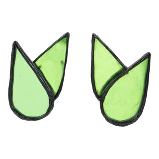 Monique Vedie, Line Vautrin Student Black Resin Clip Earrings Green Mirror For Sale