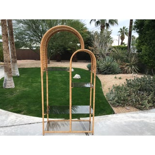 1970s Boho Chic Double Arch Rattan and Glass Shelf Etagere Preview