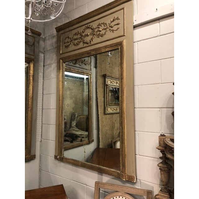 French French Louis XVI Gilt Painted Mirror For Sale - Image 3 of 6