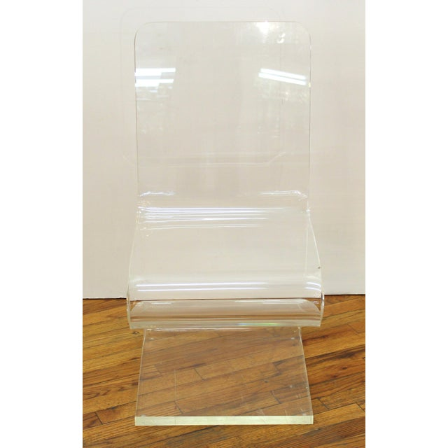 Postmodern Modern Lucite 'Z' Cantilever Chair For Sale - Image 3 of 11