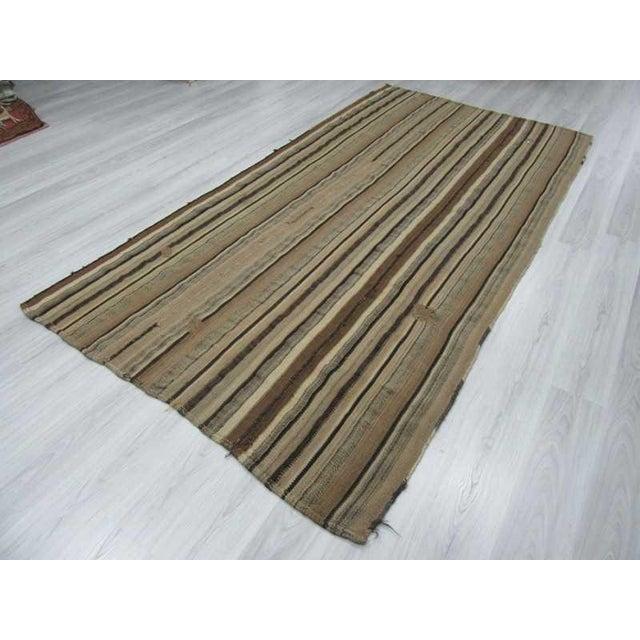 Vintage Turkish Natural Striped kilim Rug- 5′6″ × 11′ For Sale - Image 5 of 6