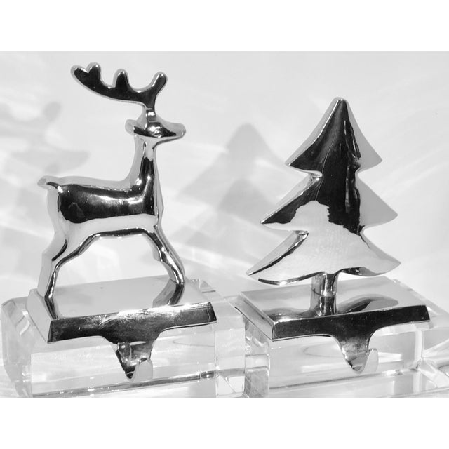 Late 20th Century Vintage Silver Stocking Hooks Pottery Barn Hangers Snowman and Tree - Set of 2 For Sale - Image 5 of 13