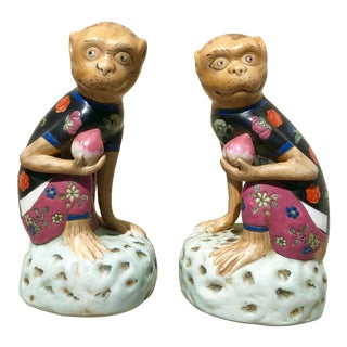 Vintage Asian Style Ceramic Monkeys-A Pair