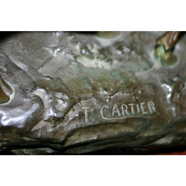 Cabin Early 20th Century Bronze Fighting Stags Sculpture by Thomas Francois Cartier For Sale - Image 3 of 6