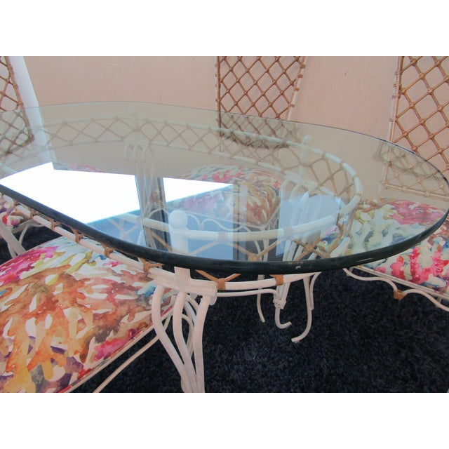 Metal 20th Century Boho Chic Iron & Rattan Dining Set - 5 Pieces For Sale - Image 7 of 10