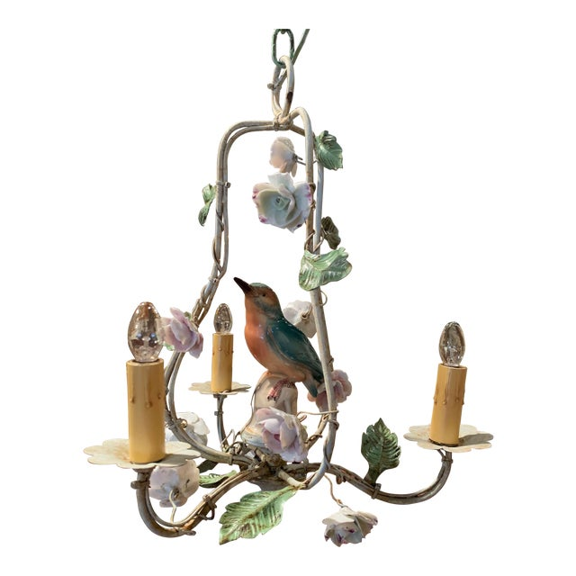 French Painted Chandelier With Porcelain Bird and Flowers For Sale