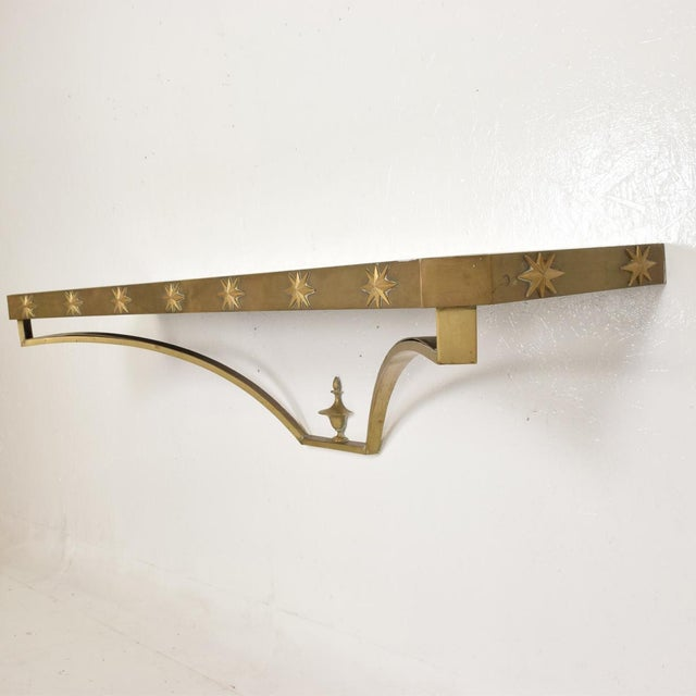 Metal Arturo Pani Mid-Century Mexican Modernist Star Brass Wall Console Table For Sale - Image 7 of 10