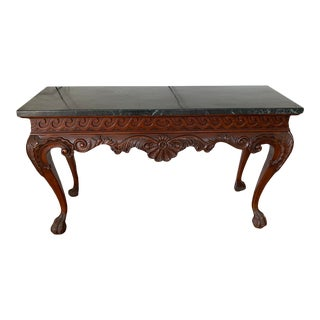 19th Century Green and Black Marble Top Antique Entry Table For Sale