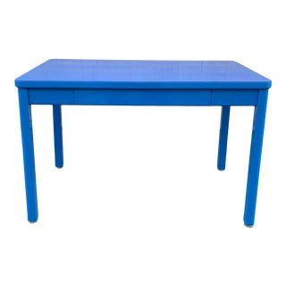 1960s Tanker Table by Steelcase, Refinished in Bright Blue For Sale