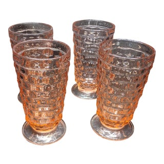 Mid 20th Century Fostoria Water Glasses Pink Peach Footed Pink Depression Glasses - Set of 4 For Sale
