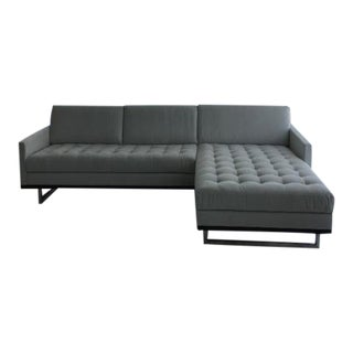 Modern American Leather Ultra Suede Sectional For Sale
