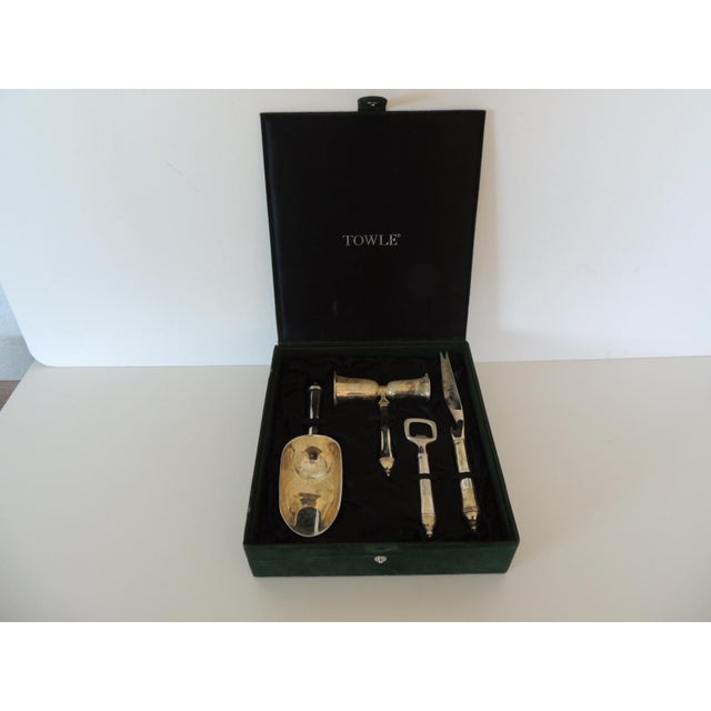 Late 20th Century Towle Silver Plated Bar Set With Case. For Sale - Image 5 of 5