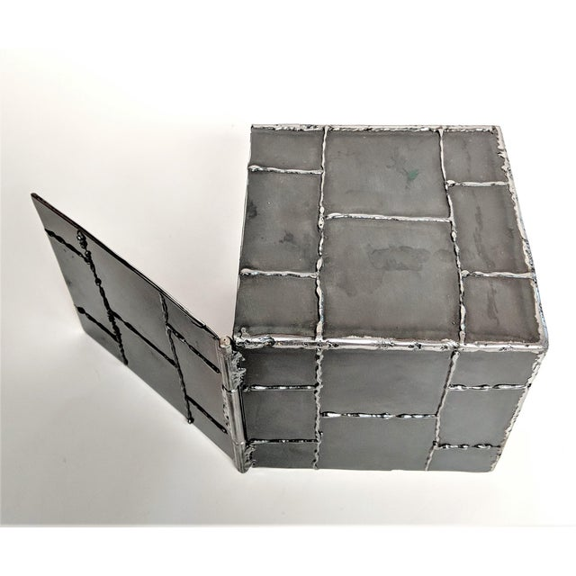 Brutalist Metal Box Hand Welded Box For Sale - Image 11 of 12