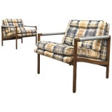 Image of Mid-Century Modern Harvey Probber Style Upholstered Club Chairs- A Pair For Sale