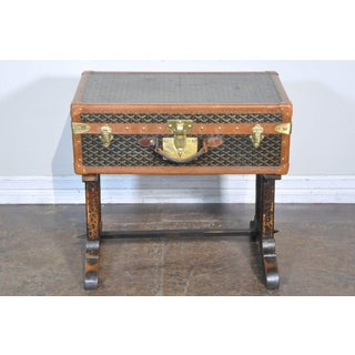 19th Century French Goyard Suitcase on Wooden Saw Horse Stand Preview
