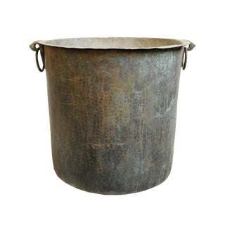 Antique Copper & Bronze Hammered Pot For Sale