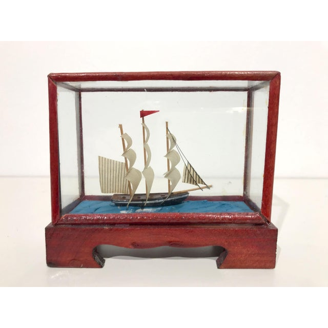 Miniature Model Sailing Ship in Wood & Glass Case - Image 11 of 11