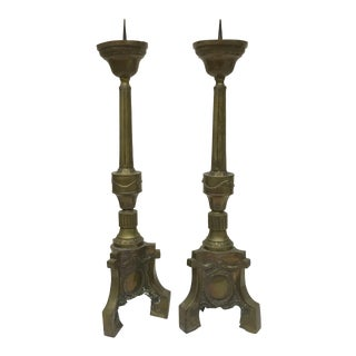 Pair of Antique French Brass Pricket Sticks For Sale