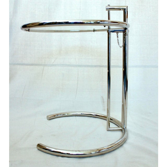 Eileen Gray 20th Century Modern Eileen Gray Chrome and Glass Adjustable Side Table For Sale - Image 4 of 10