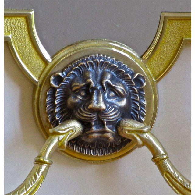 Gold 1940s French Brass Mirrored Lion Wall Sconces - a Pair For Sale - Image 8 of 11