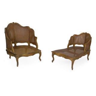 French Louis XV Style Antique Duchesse Brisée Arm Chair Lounge, 19th Century Preview