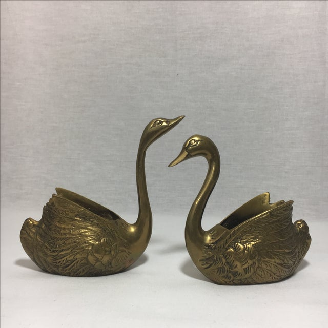 Brass Swan Containers - Pair - Image 2 of 6