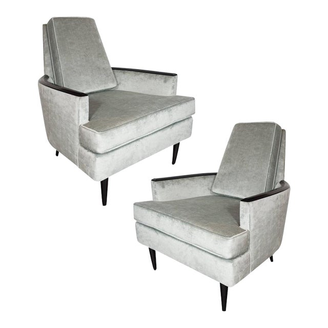 Pair of Mid-Century Armchairs in Smoked Platinum Velvet and Ebonized Walnut For Sale