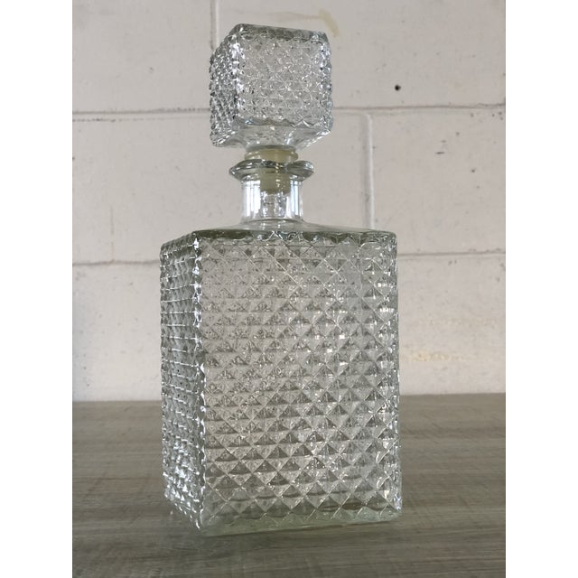 Vintage Diamond Point Glass Decanter For Sale - Image 10 of 10
