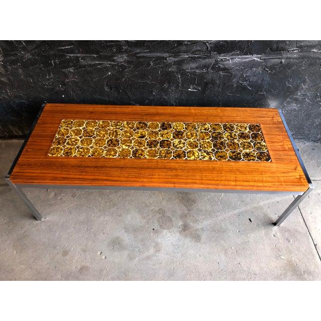 Mid-Century Modern 1960s Mid Century Modern Teak & Chrome Tiled Coffee Table For Sale - Image 3 of 6