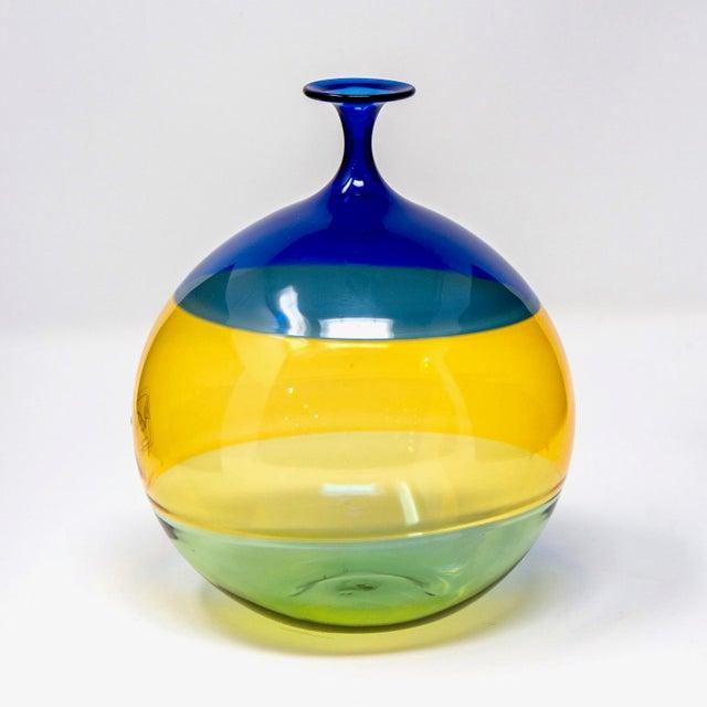 Mid-Century Modern Vinciprova Color Block Murano Glass Vase For Sale - Image 3 of 7