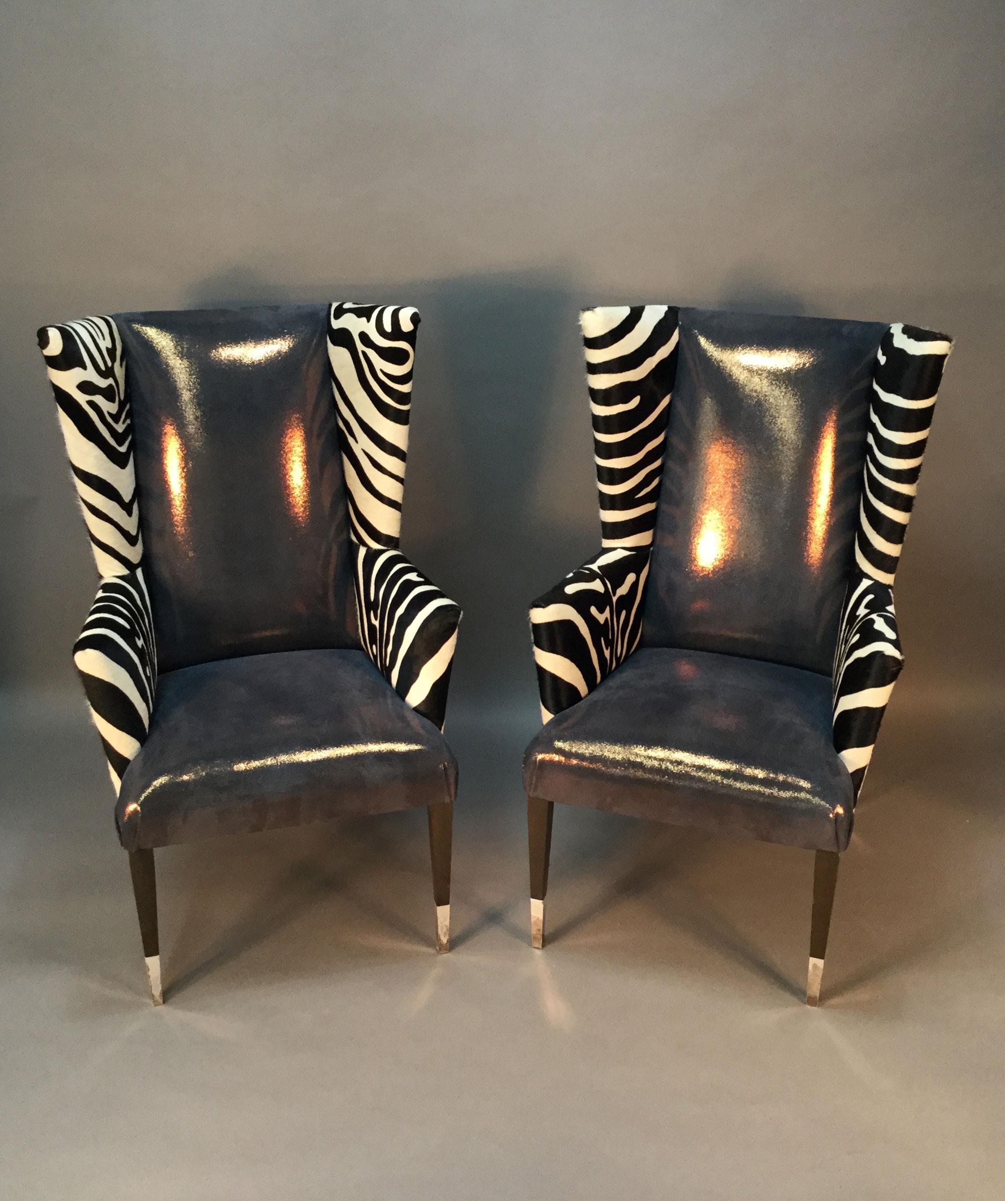 Superieur Modern Wingback Chairs With Zebra Print   Pair   Image 4 Of 9