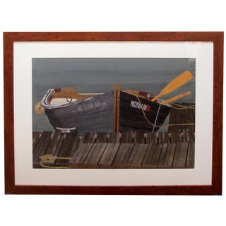 Watercolor on Paper 'Rendezvous, Bodega Bay, California' Signed 'Michael Dunlavey' For Sale