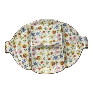 """Vintage Erphila Floral """"Cheery Chintz"""" Serving Platter With Gold Trim For Sale"""
