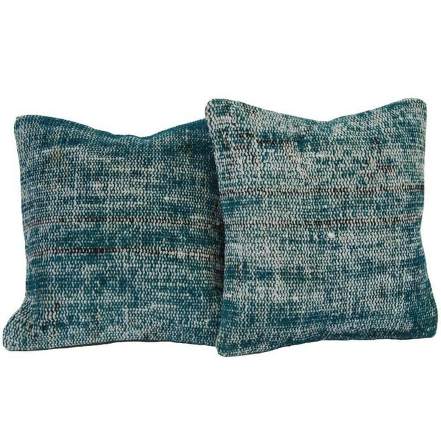 Turquoise Handmade Over-Dyed Rug Pillows - Pair - Image 1 of 7