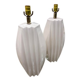 1980s Glossy White Ceramic Pleats Lamps - a Pair For Sale