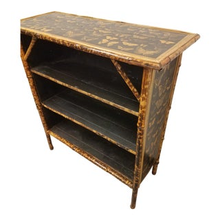 Antique English Bamboo Decoupaged Bookcase With Butterflies For Sale