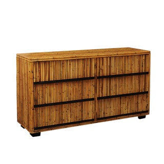Elegant Restored Mahogany and Bamboo Chest, Circa 1970 For Sale