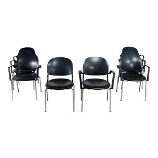 Black Torsion Chairs by Giancarlo Piretti for Ki Set of Eight 7 Arm and 1 Side For Sale