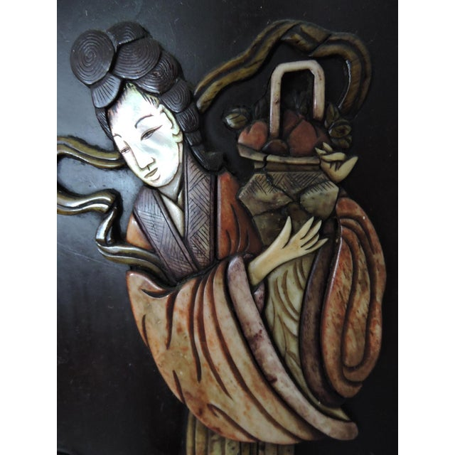 Early 20th Century Antique Chinese Four Panel Room Divider or Screen of the Four Seasons With Calligraphy For Sale - Image 5 of 11