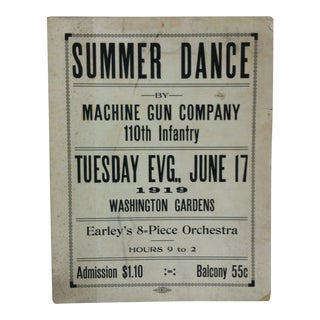 "1919 Vintage ""Summer Dance"" Washington Gardens 110th Infantry Sign For Sale"